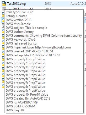 DWG Columns for Explorer - JTB World