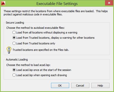 AutoCAD 2014 Options System Executable Settings