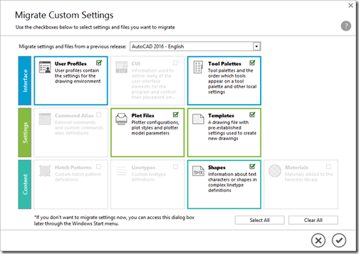 AutoCAD 2017 Migrate Custom Settings